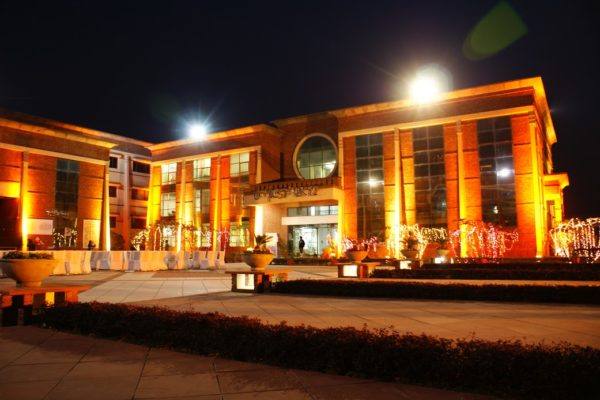 college building at night